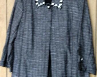 Black and White Beaded Jacket