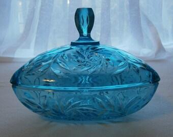 Vintage Hazel Atlas Pinwheel Pattern Covered Candy Dish in Capri Blue