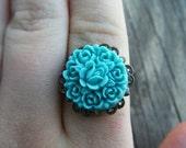 Blue Rose Floral Adjustable Ring