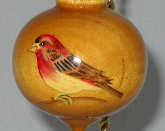 Purple Finch Christmas Ornament, Hand Painted Wooden Christmas Decoration, WBO-39