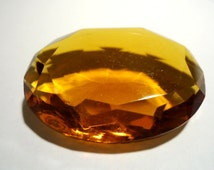 Vintage Glass Oval Light Topaz Brown colour Non Foiled transparent Stone 40mm x 30mm glass crystal jewel-1 piece