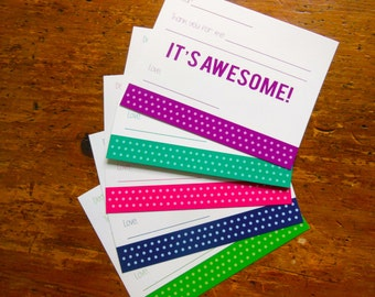 Green Polk-a-dot Kids Fill in the Blank Thank You Stationery