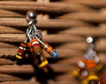 Small Cluster Brown Resistor Stud Earrings