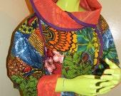 African patchwork wrap coat