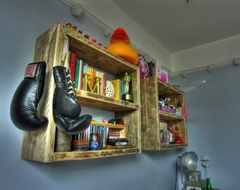 Nik-nak storage shelves, reclaimed wood.