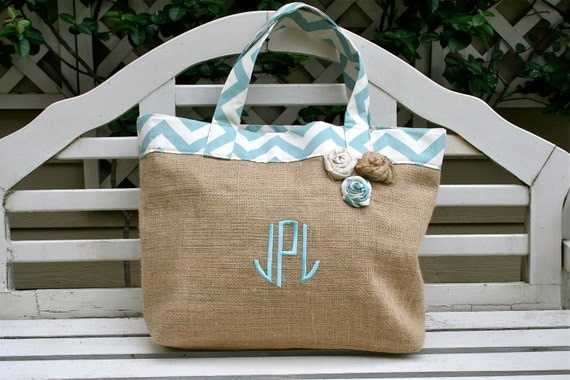 Blue Chevron and Burlap Beach Tote Custom Made to Order