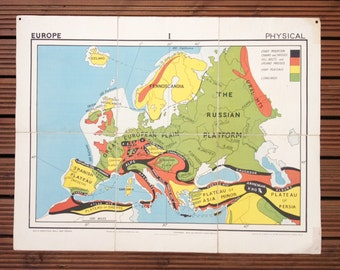 Vintage school map of Europe, Physical (No.1 in the Gill Simplified map series)