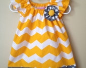 Baby Girl Yellow Chevron and Gray Polkadot Peasant Dress- 0 to 3 months - 6M - 12M - 18M - 2T - 3T - 4T
