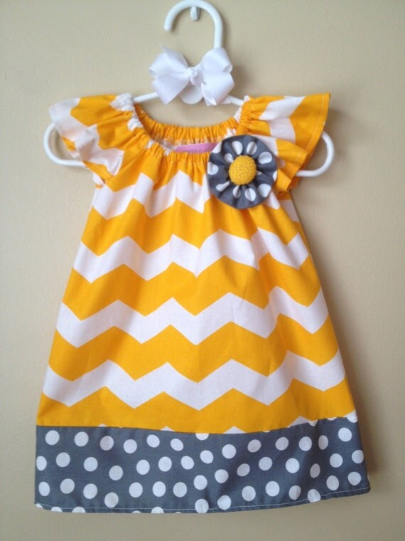 Items similar to Baby Girl Yellow Chevron and Gray
