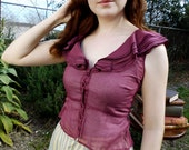 1990s Women's Deep Purple Red Sleeveless Button-up Shirt with Ruffled Collar