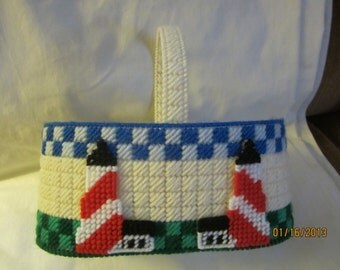 needlepoint basket with lighthouses