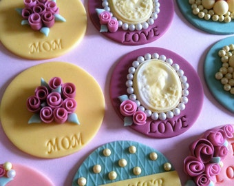 Victorian vintage cupcake/cookie toppers