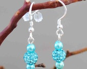 Aquamarine Crystal Pave' Earrings on .925 Sterling Silver Earwires - BridgetsCollection