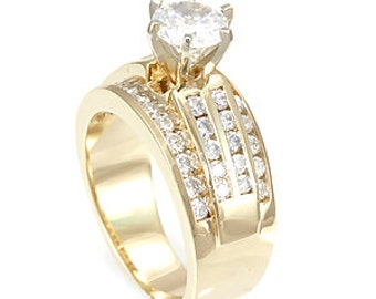 Round Diamonds, 14K Yellow Gold, Channel Set, CZ Engagement Ring, Bridal Ring
