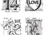 """NEW 2013 Tim Holtz """"Valentine Blueprints"""" Stamp Set  - Rubber & Cling Mounted Stamp Set - 4 pcs"""