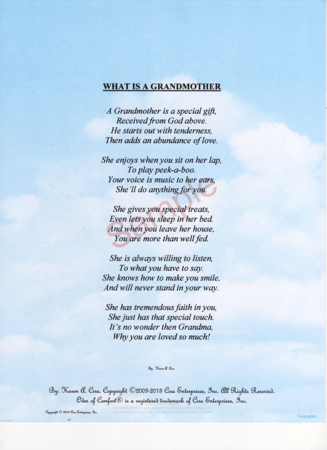 Five Stanza What Is A Grandmother Poem shown on