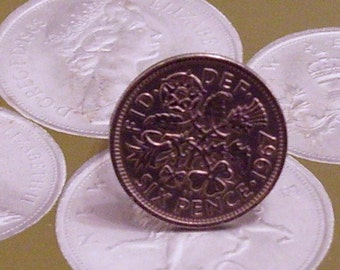 Lucky Sixpence 6d Coin Adjustable Ring Upcycled Novelty Jewellery Gift Box Silver Plated