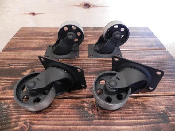 industrial furniture wheels. Caster Wheels 3 Steel Industrial Rustic Set Of 4 Furniture