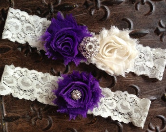 Purple Wedding Garter Set, Wedding Garter Set, Ivory Lace Garter, Purple Ivory Garter Set, Ivory Wedding Garter, pick colors