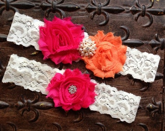 Pink and Orange Wedding Garter, Pink Wedding Garter Set, Lace Wedding Garter, Orange Wedding Garter, Pink Bridal Garter, Pearl Garter