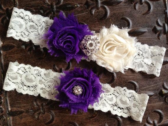 Purple Wedding Garter Set Ivory Lace