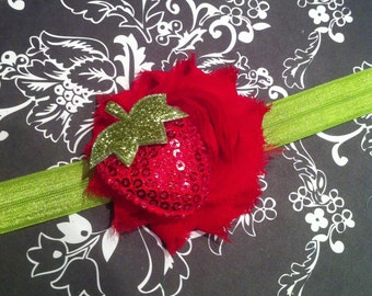 Strawberry Sequin Baby Headband-Red Shabby Chiffon Flower-Green Grass Elastic