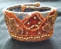 vintage velvet beaded bohemian denim cuff bracelet vintage fabric cuff vintage velvet