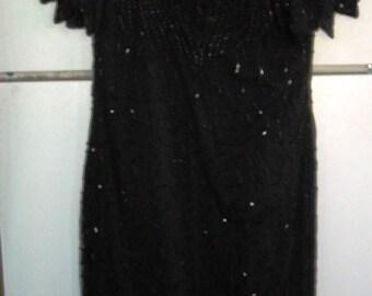 Sale    Sale    Vintage BLACK BEADED Dress, Size PM, New old stock, by Lawrence Kazar