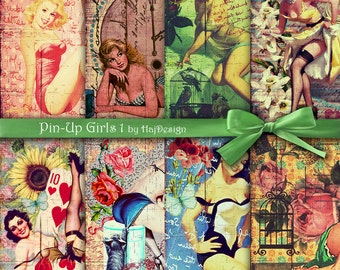 Pin-Up Girls 1 - Instant Download, Digital Paper, Scrapbook Paper, Decoupage Paper, Printable Paper, Pin Up Girls