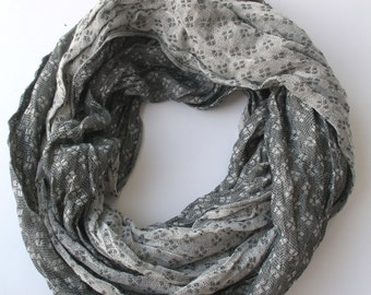 CLEARANCE SALE - Gray Fabric Scarf - Infinity Scarf - Loop Scarf - Circle Scarf - Scarf Necklace - 377