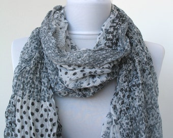 CLEARANCE SALE - Floral Fashion Scarf - Multicolor Scarf - Dotted Scarf - Trendy Fabric Scarf - in ivory, gray, black - 223