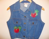 Hand Painted Apples Denim Crop Top by NIKI-LEE of California