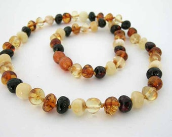 Baltic Amber Adult Necklace - Mix Colored