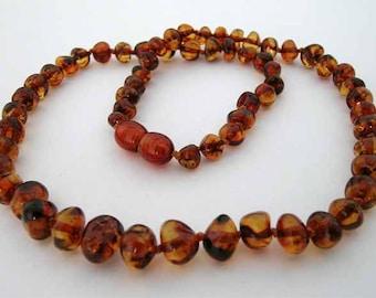 Baltic Amber Adult Necklace - Cognac Color