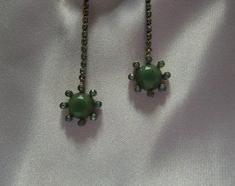 Vintage Rhinestone Long Flower Earrings