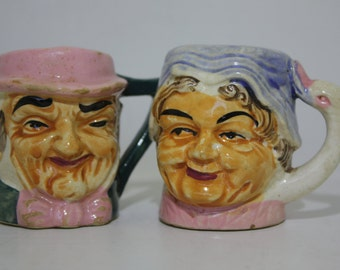 Vintage pair of husband and wife Toby Face Mug Style - Salt and Pepper Shakers - Figural - Old Man and Old Woman