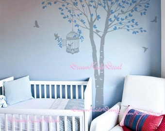 Tree wall decal baby girl Nature Tree Wall Mural Nursery wall decal children- nature decal birdcage flying birds-DK062