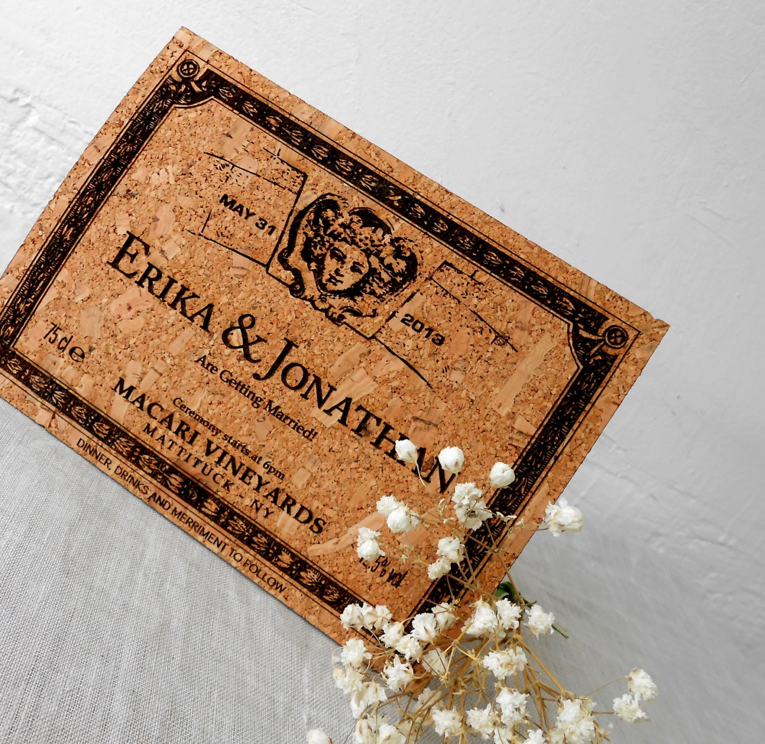 Wine Cork Wedding: Rustic Wedding Invites Vineyard Wedding Cork Invitations