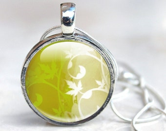 Picture Necklace Green Pendant Necklace, Abstract Art behind glass dome with silver Picture Necklace Photo Pendant