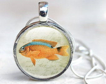 Fish Necklace, Fish Glass Necklace - Fish Jewelry - Fish Pendant Necklace (fish 8)