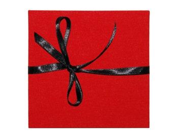leporello photo album with fabric red