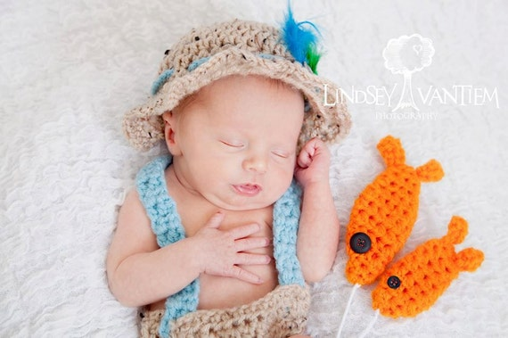 Handmade, Crochet Newborn Fishing outfit, Fly fishing hat, Photo prop ...
