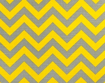 Chevron Fabric yellow grey by the Yard Premier Prints Zigzag Ash corn slub cotton home decor Fabric - 1 yard or more - SHIPS FAST