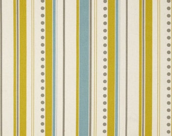 Stripe Fabric by the Yard Premier Prints Brook Summerland Blue yellow green citrine natural Home Decor fabrics - 1 yard or more - SHIPS FAST