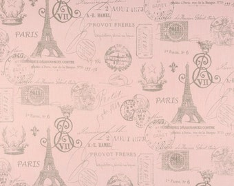 Pink Paris Script Fabric by the YARD Upholstery Eiffel tower French stamp bella pink storm grey Premier Prints  SHIPsFAST