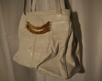 Large White Leather Chain Purse