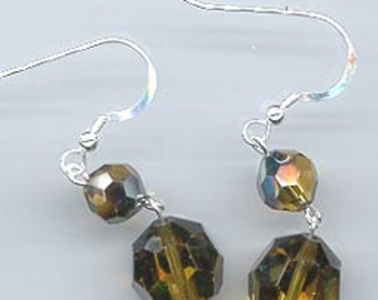 Dazzling earrings made from vintage Swarovski mink crystals