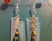 Recycled Plastic and Glass Bead Earrings