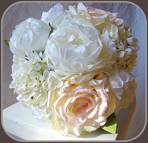 Sale Wedding Bouquet Blush White Peony Roses By