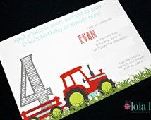 Tractor Birthday Invitation (Printed)